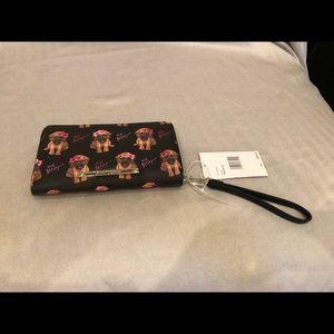 NWT Betsey Johnson puppy wristlet/wallet